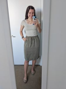 striped-tee-olive-green-skirt-down-east-style-rose-gold-necklace