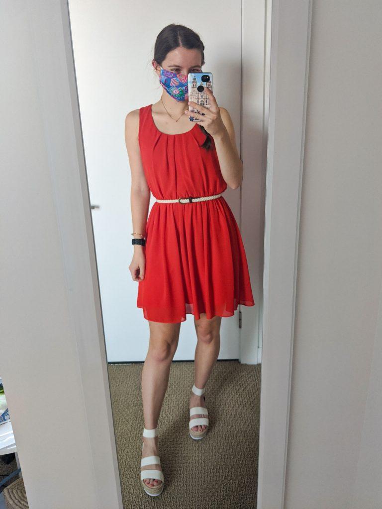 college-fashion-orange-dress-white-elastic-sandals