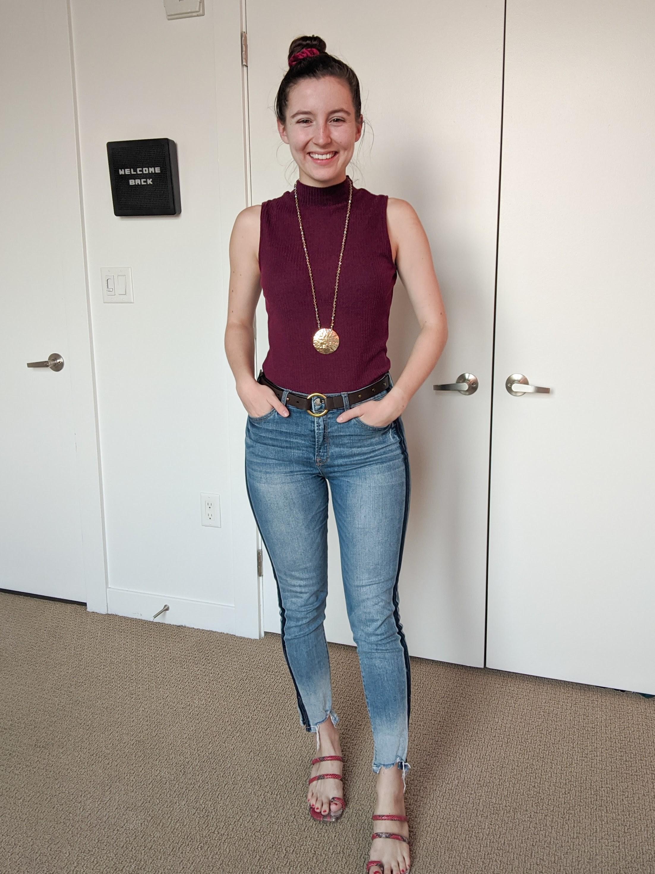 maroon-mock-neck-top-tuxedo-stripe-jeans