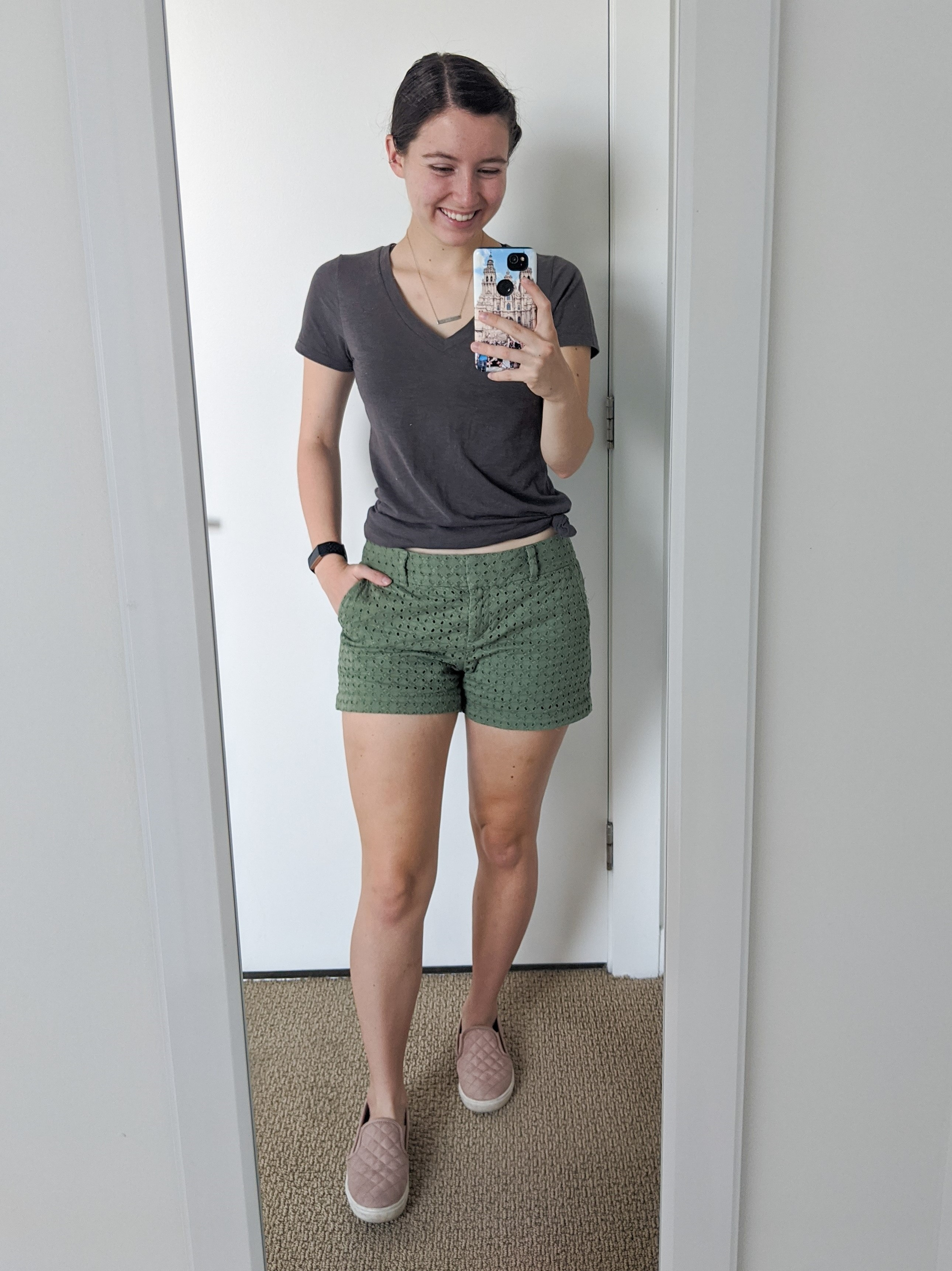 olive-green-shorts-blush-sneakers-grey-tee-college-style