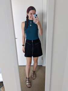 60s-outfit-mini-skirt-mockneck-top-choker-edgy-outfit