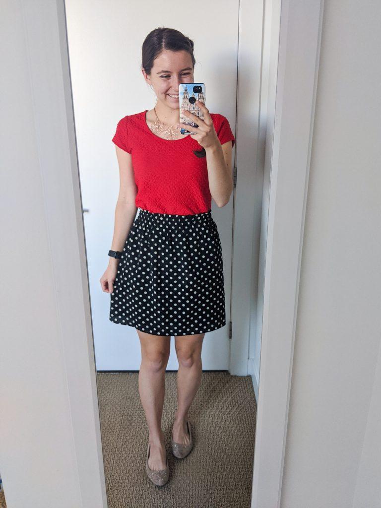 red-blouse-polka-dot-skirt-work-chic