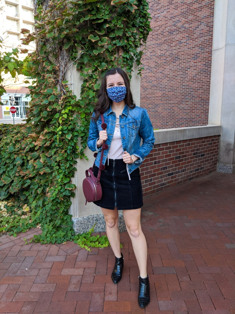 black-corduroy-skirt-jean-jacket-blush-top