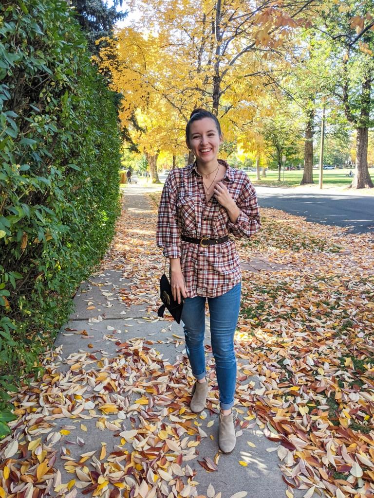fall-fashion-plaid-shirt-skinny-jeans-thrifted