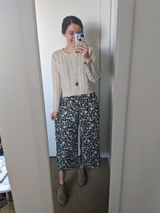 floral-jumpsuit-cableknit-sweater-beige-booties