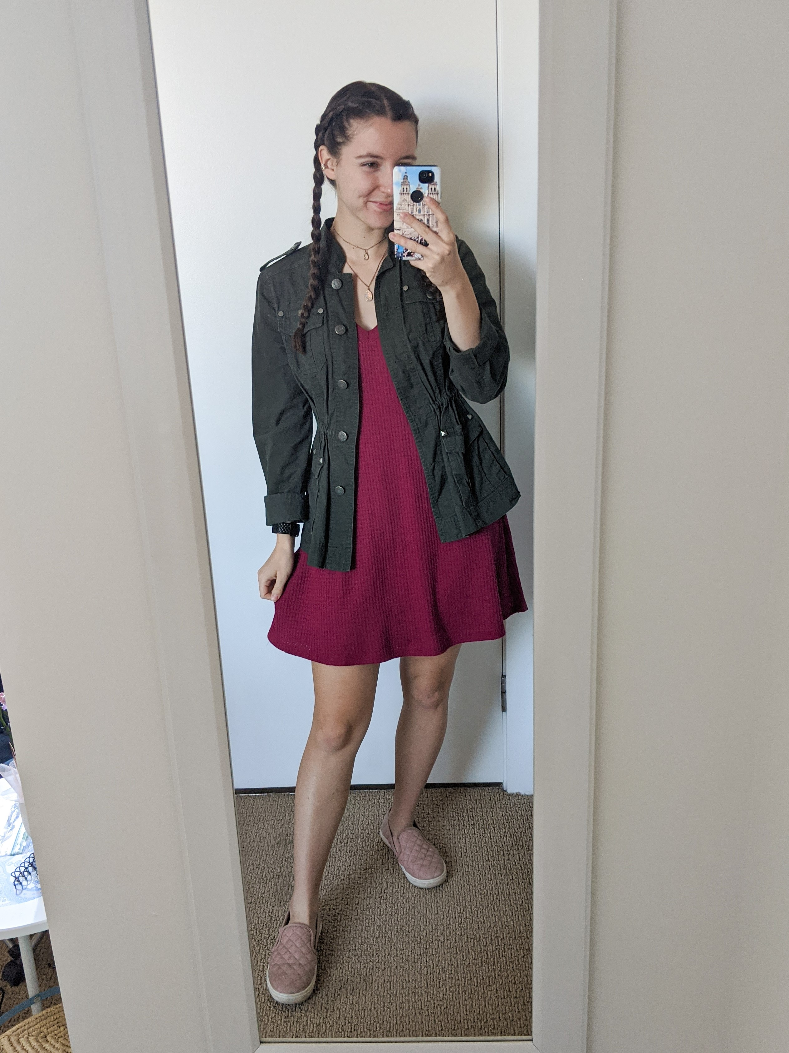 red-dress-military-style-jacket-blush-sneakers
