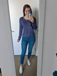 purple-sweater-skinny-jeans-white-mules