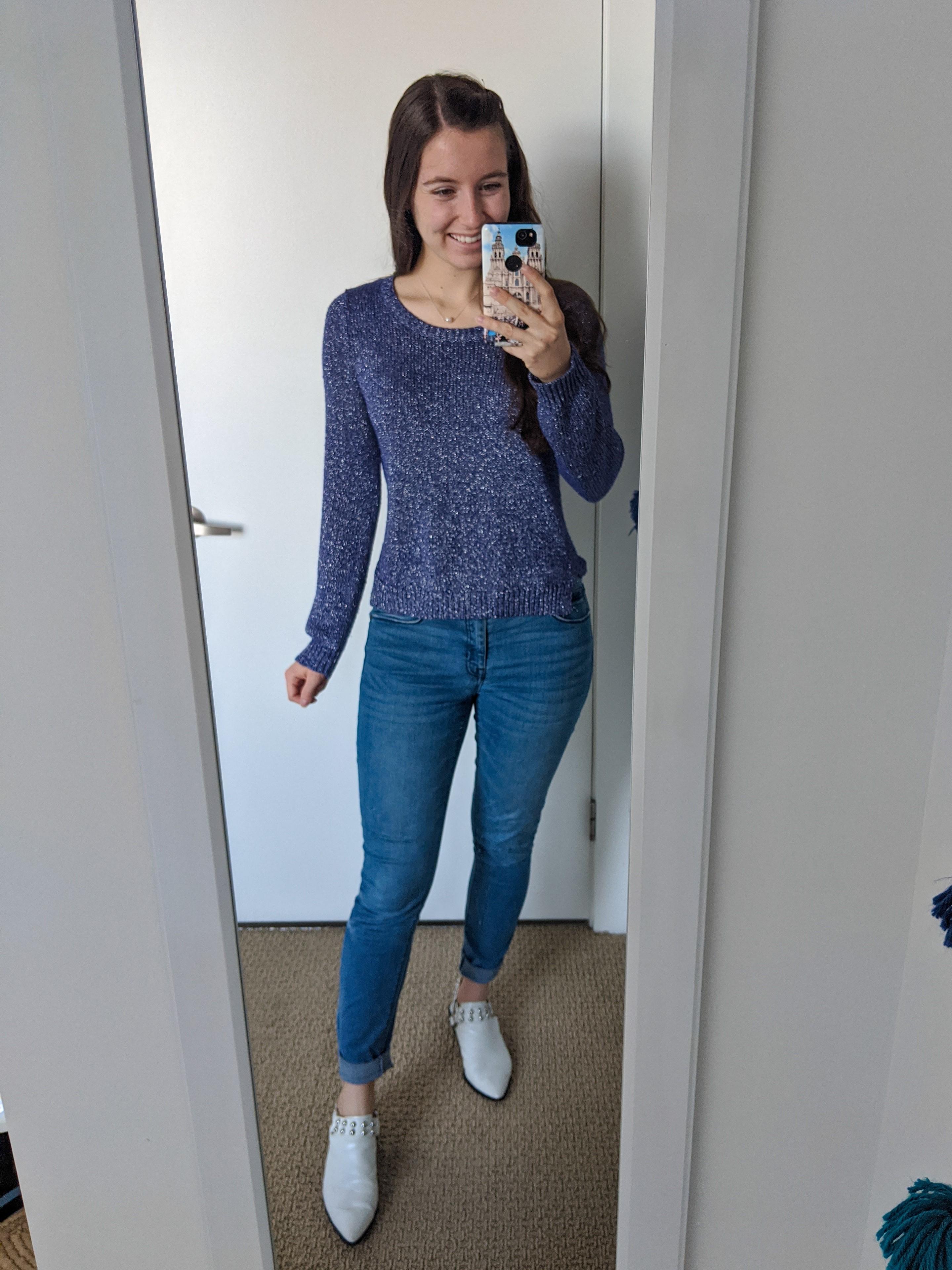 purple-sweater-skinny-jeans-white-mules