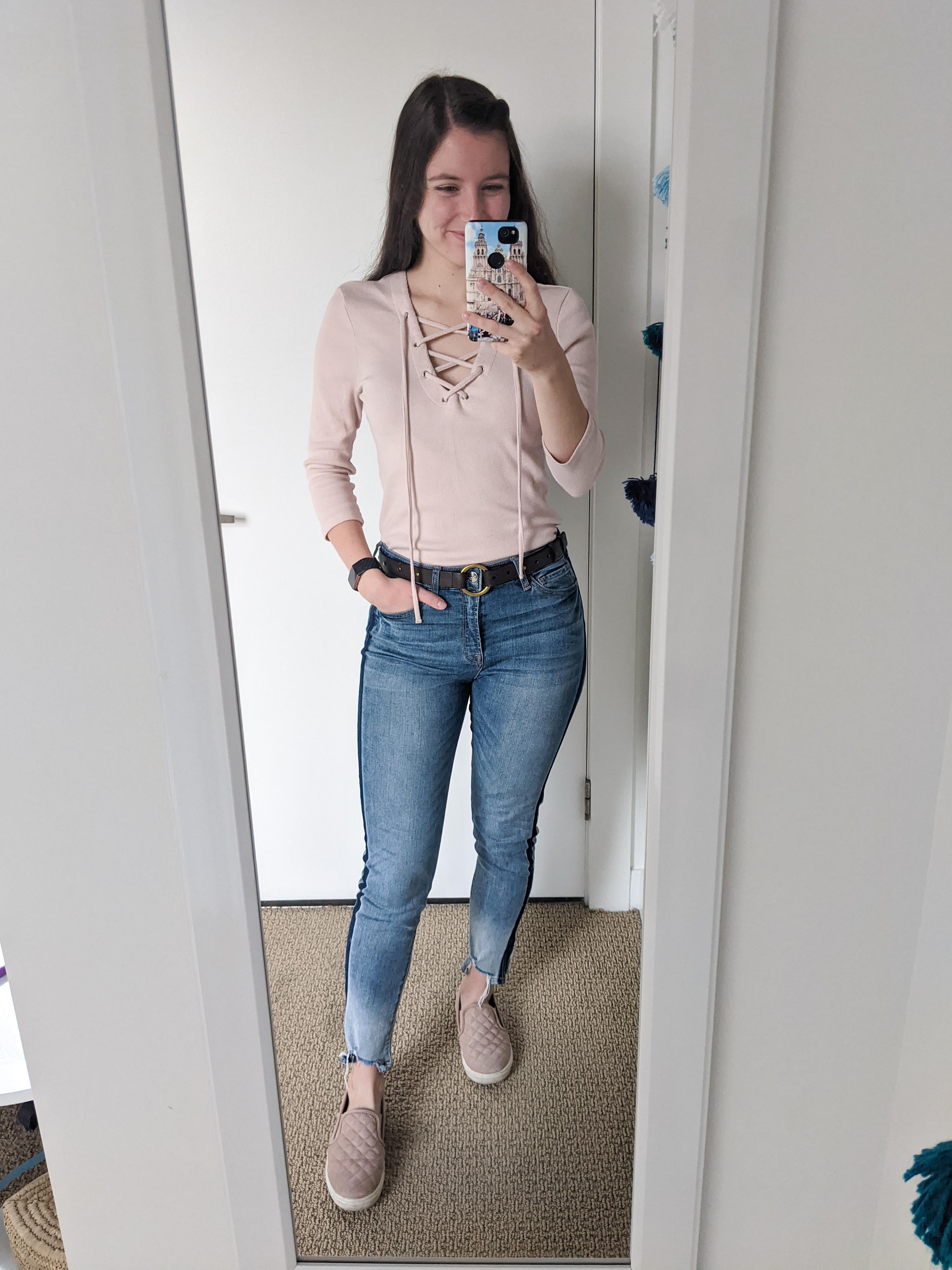 blush-pink-tuxedo-stripe-jeans-casual-style