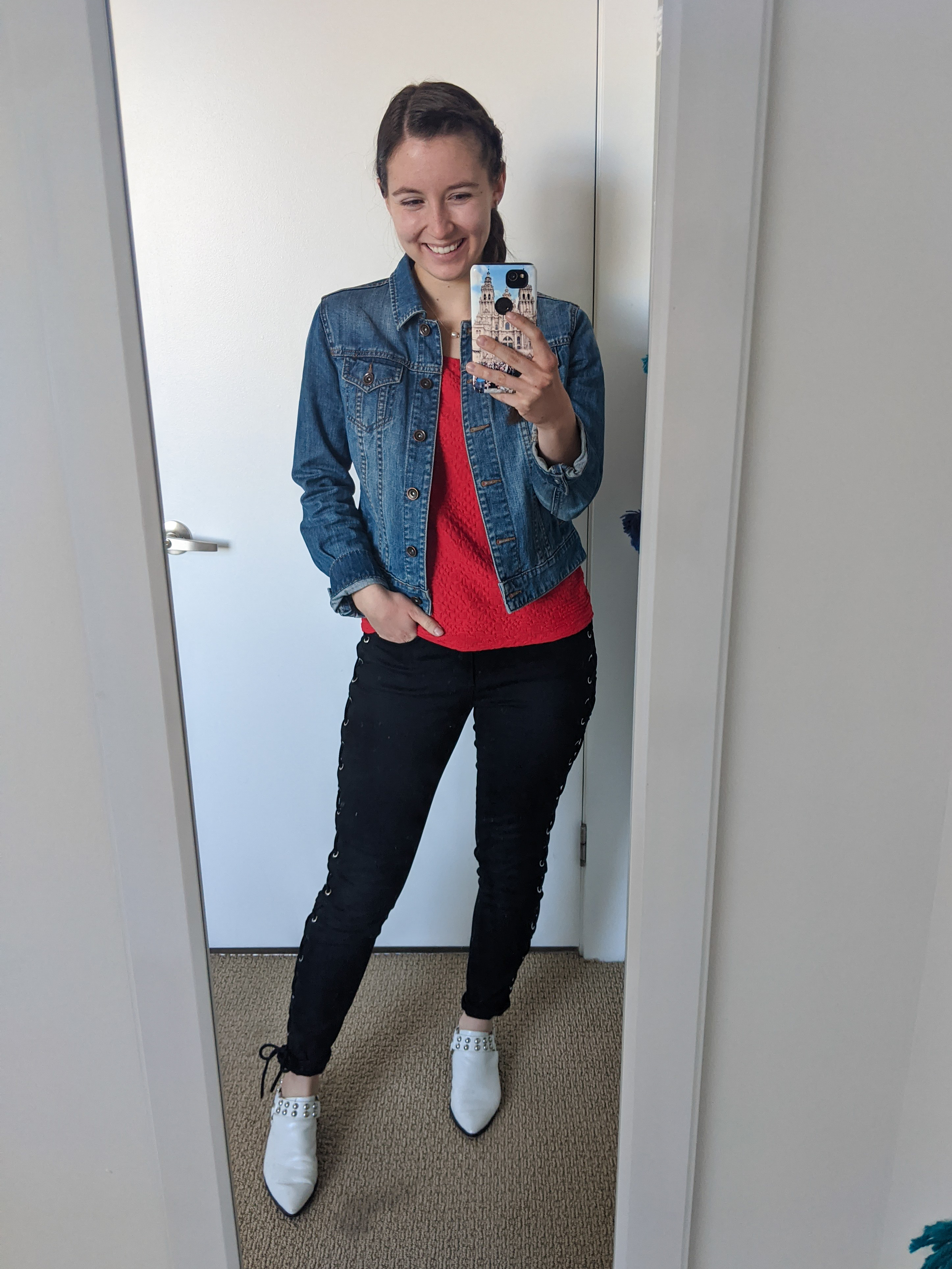 red-blouse-ootd-jean-jacket-white-mules