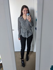 buffalo-check-collared-blouse-black-laceup-pants-black-booties