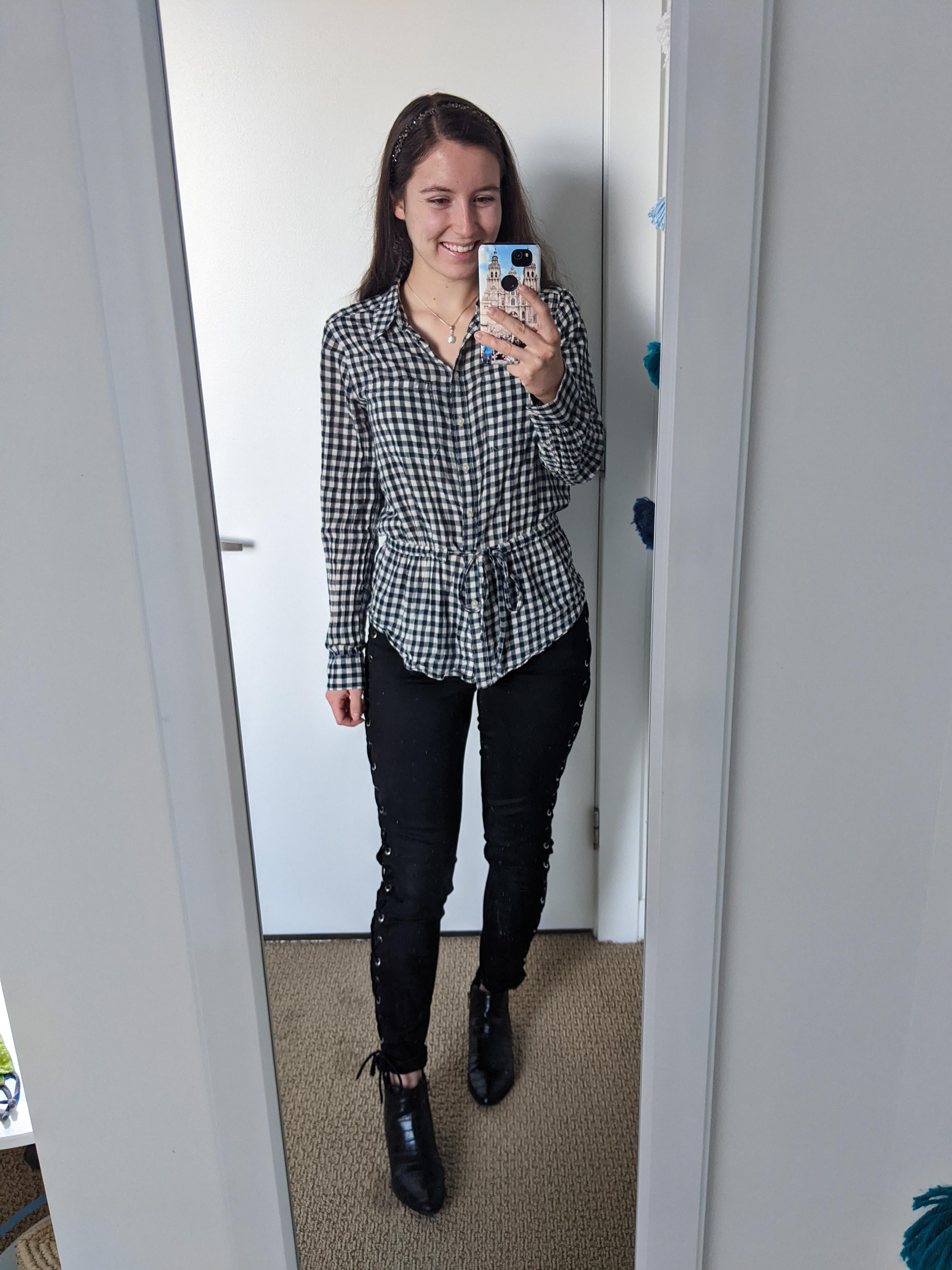 buffalo-check-collared-blouse-black-laceup-pants-black-booties