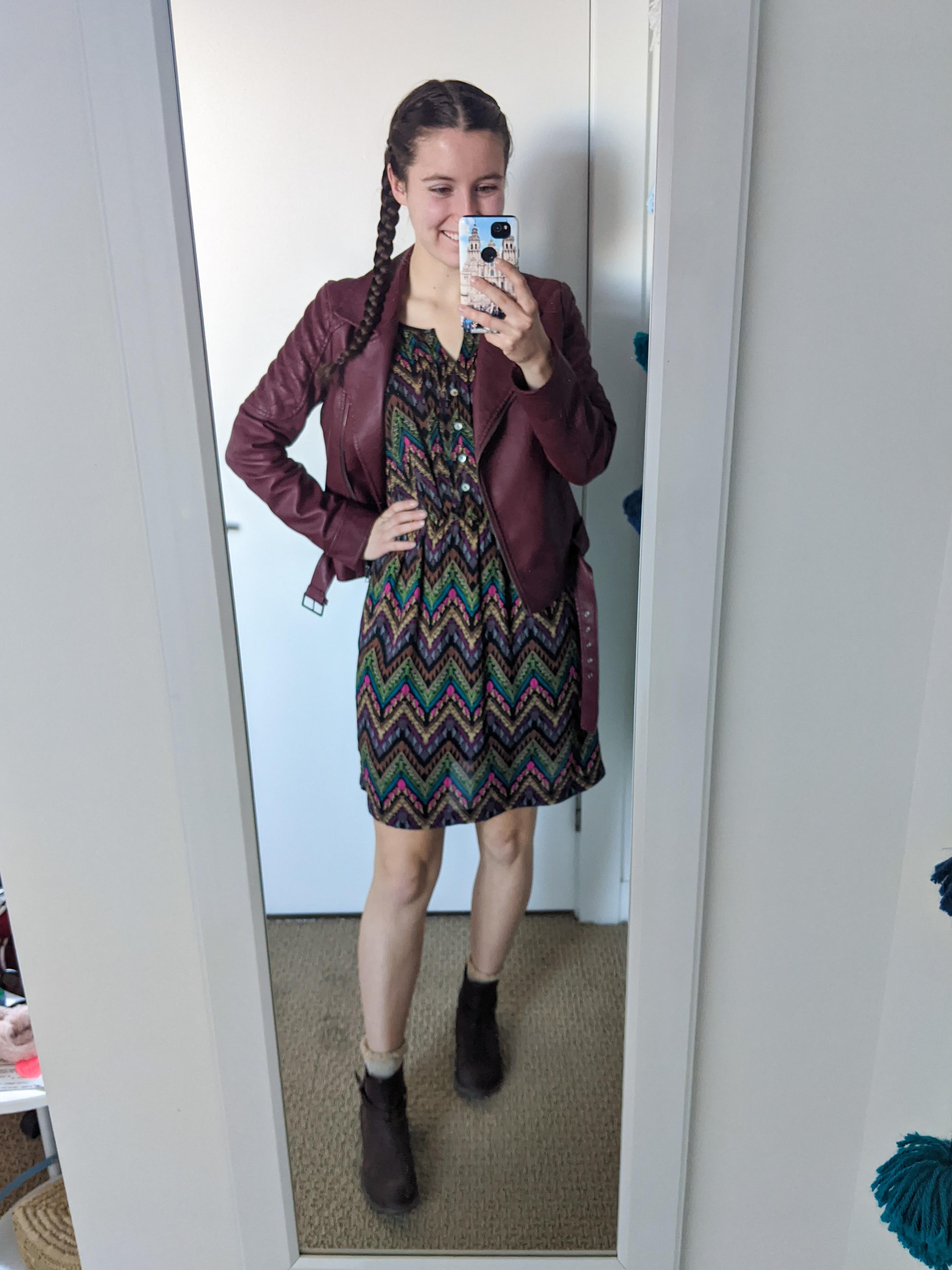 brown-patterned-dress-charming-charlie-maroon-moto-jacket
