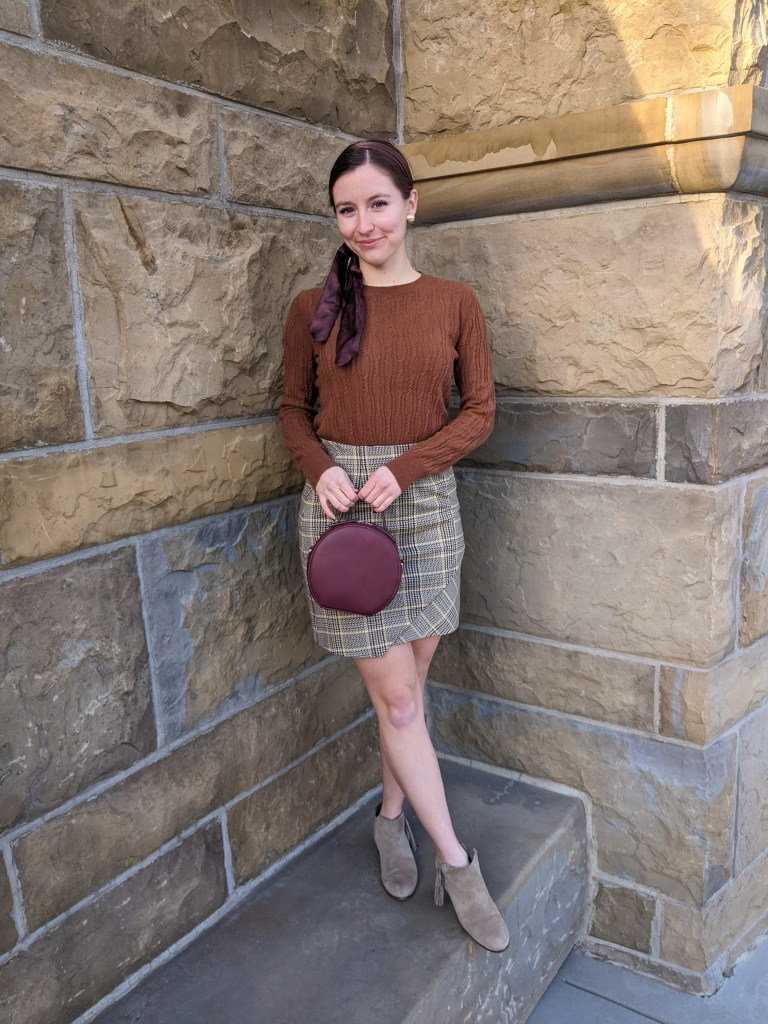 chocolate-brown-sweater-plaid-skirt-fall-style