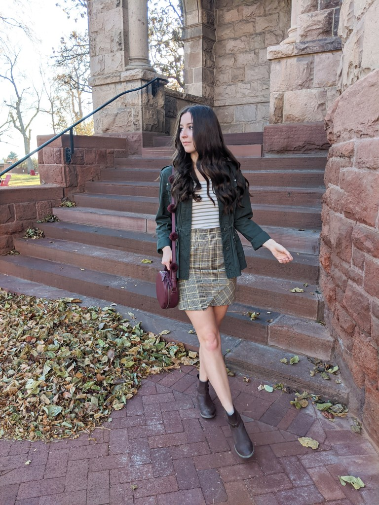 pattern-mixing-stripes-plaid-skirt-military-jacket