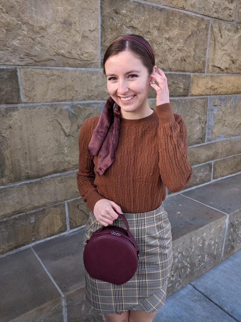 plaid-skirt-hair-scarf-vintage-circle-purse