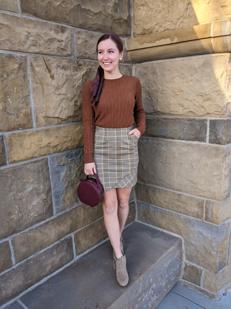 plaid-skirt-circle-purse-brown-sweater-hair-scarf