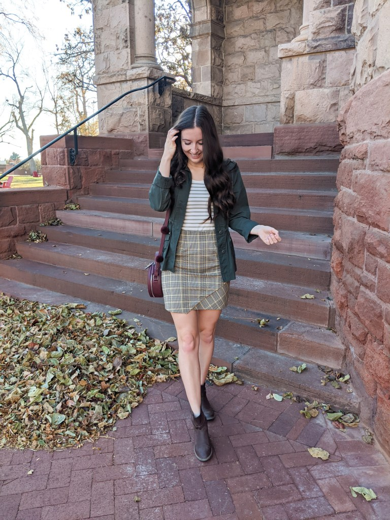 plaid-skirt-military-jacket-fall-fashion