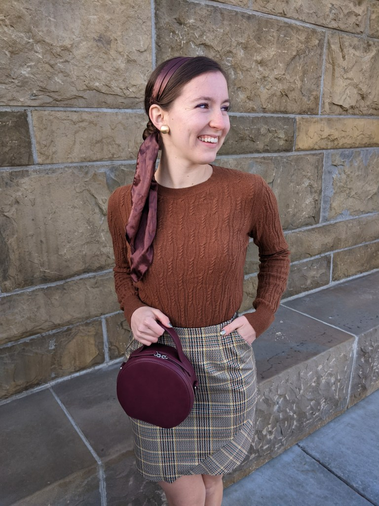 hair-scarf-brown-sweater-plaid-skirt-fall-style