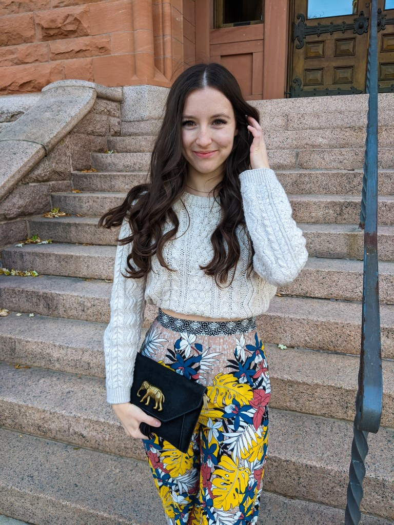 colorful-pants-cropped-sweater-francesca's-college-style-boho-fashion