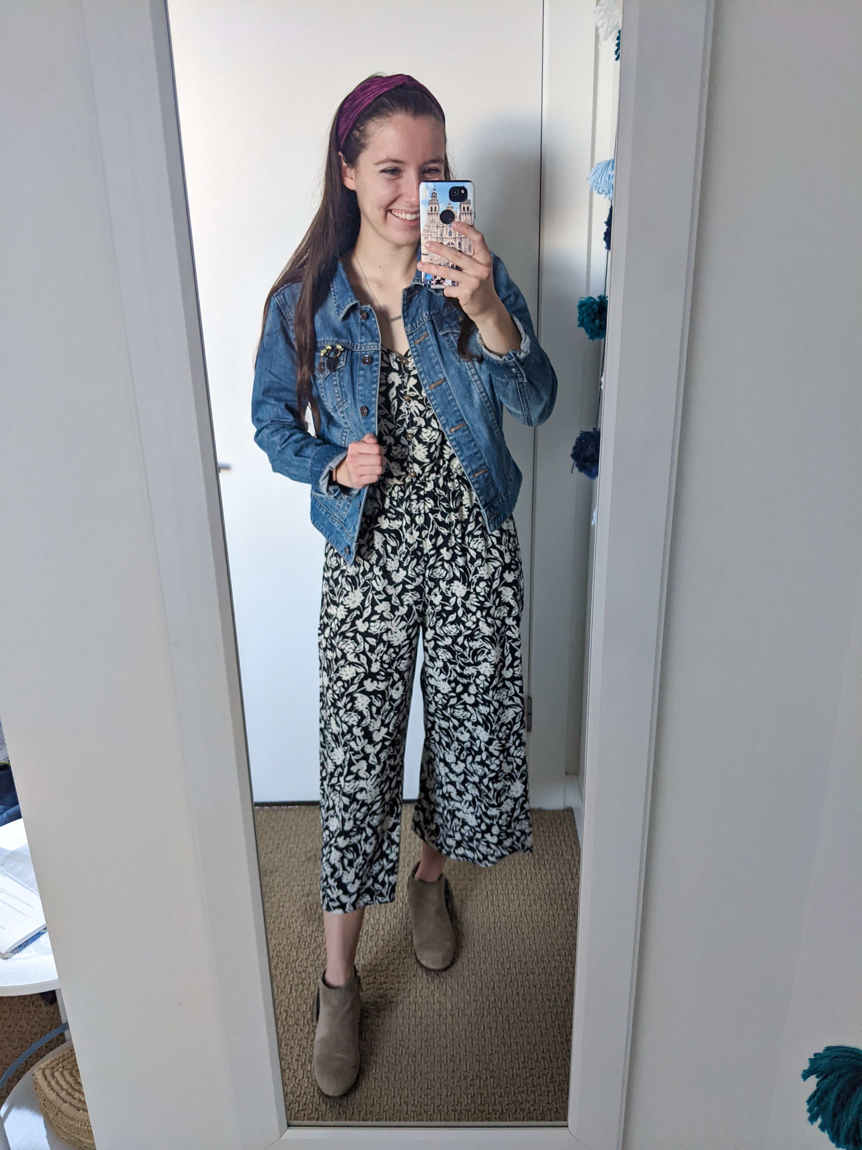 floral-jumpsuit-jean-jacket-beige-booties-fall-style