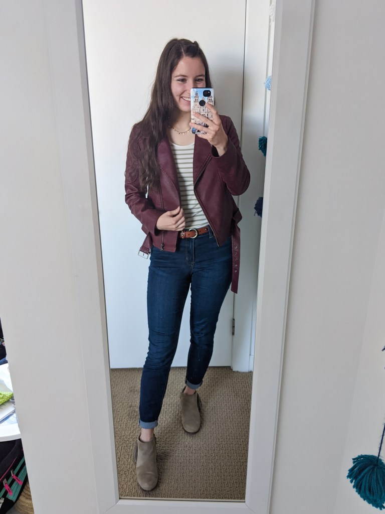 maroon-moto-jacket-skinny-jeans-striped-tee
