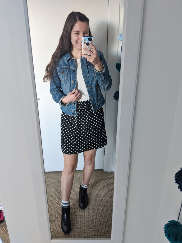 polka-dot-skirt-jean-jacket-girly-outfit