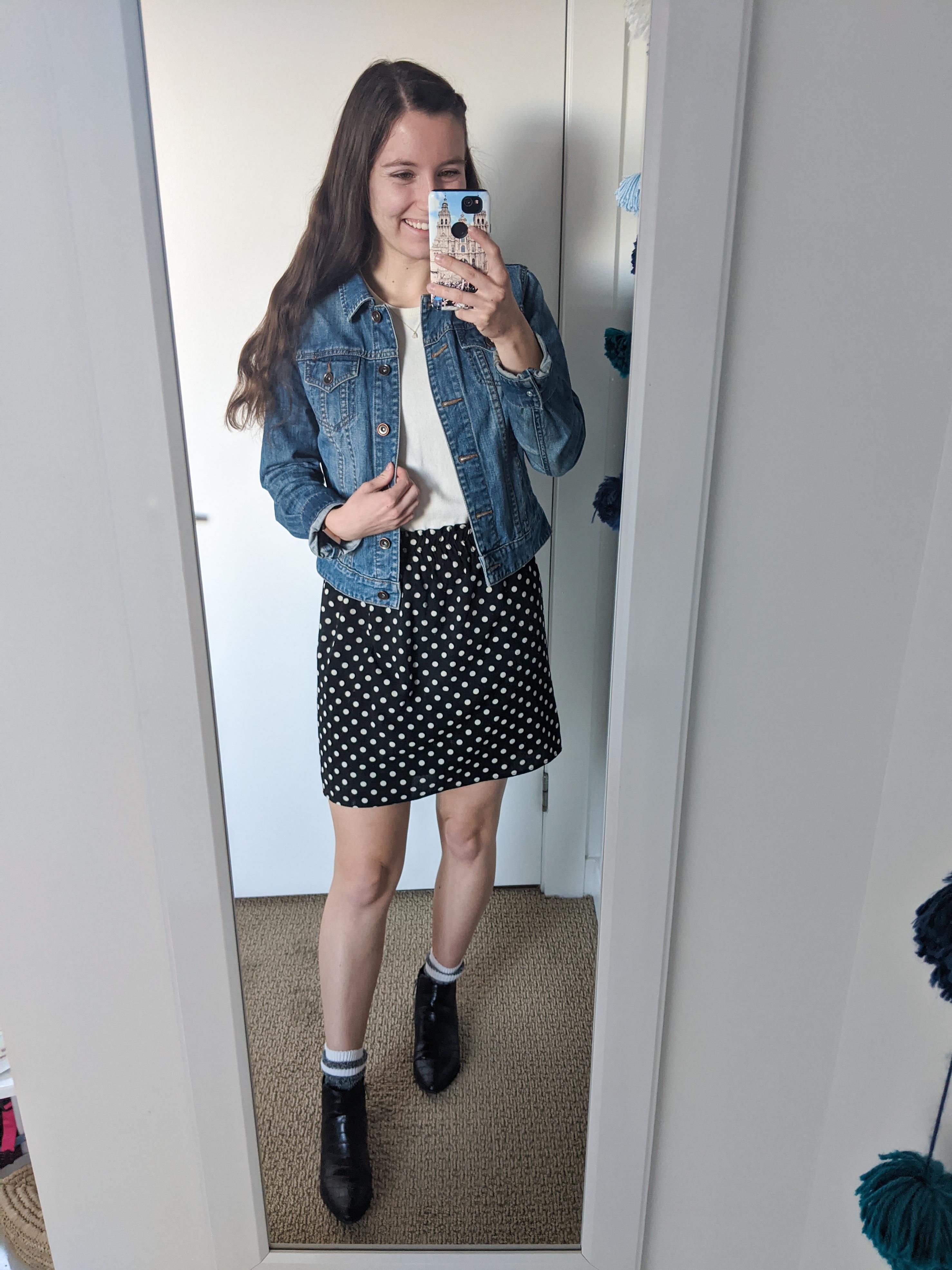 polka-dot-skirt-jean-jacket-girly-outfit
