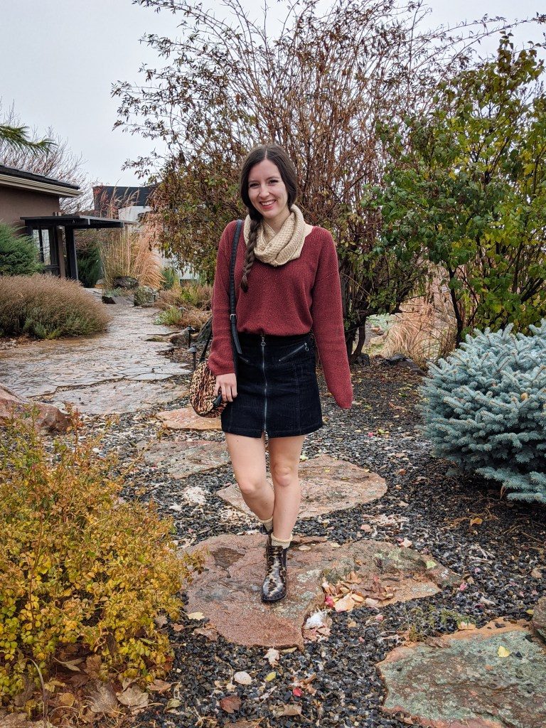 sparkly-sweater-thrifted-black-corduroy-skirt