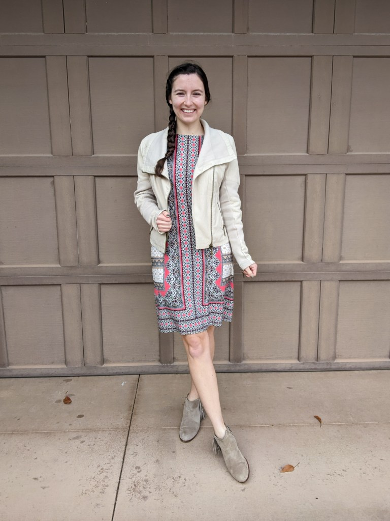 patterned-dress-professional-beige-jacket-fall-outfit