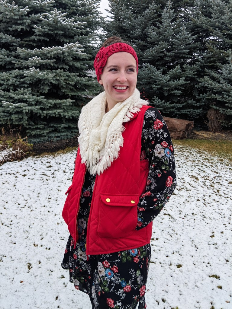 red-quilted-vest-winter-fashion-affordable-style-floral-dress