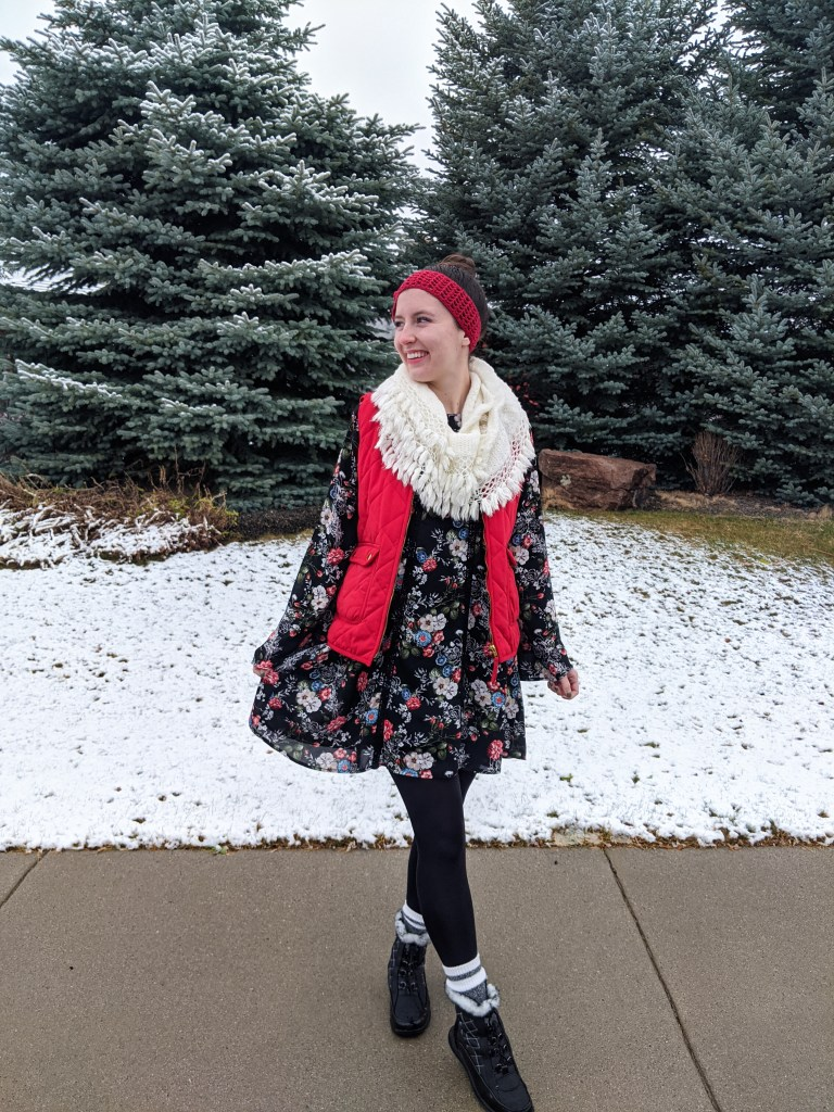 bellsleeve-floral-dress-infinity-scarf-red-vest