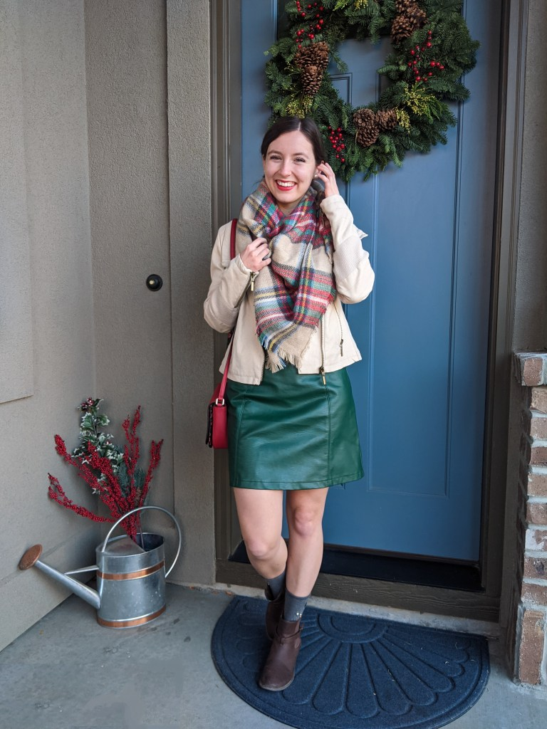green-pleather-skirt-plaid-blanket-scarf-holiday-decore