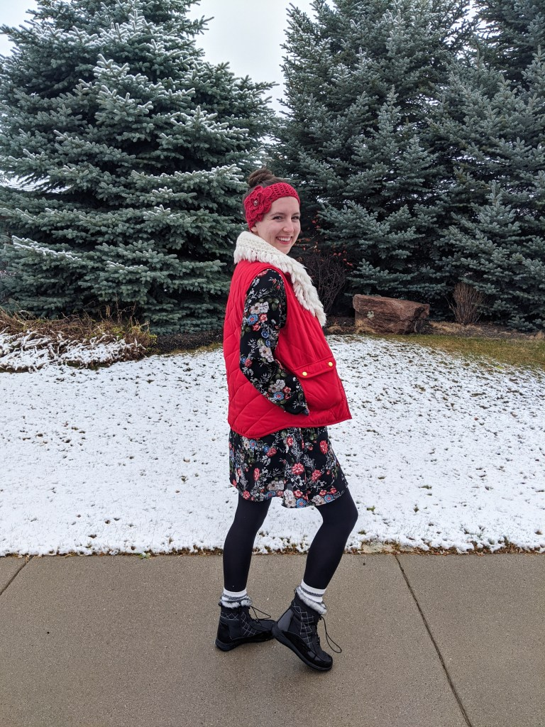 floral-dress-snow-boots-winter-dressing-red-earwarmer-quilted-vest