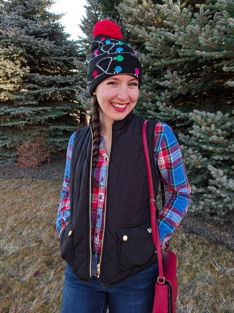 light-up-beanie-christmas-outfit-quilted-vest-plaid-flannel