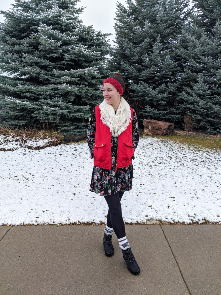 winter-fashion-layers-summer-dress-floral-red-vest