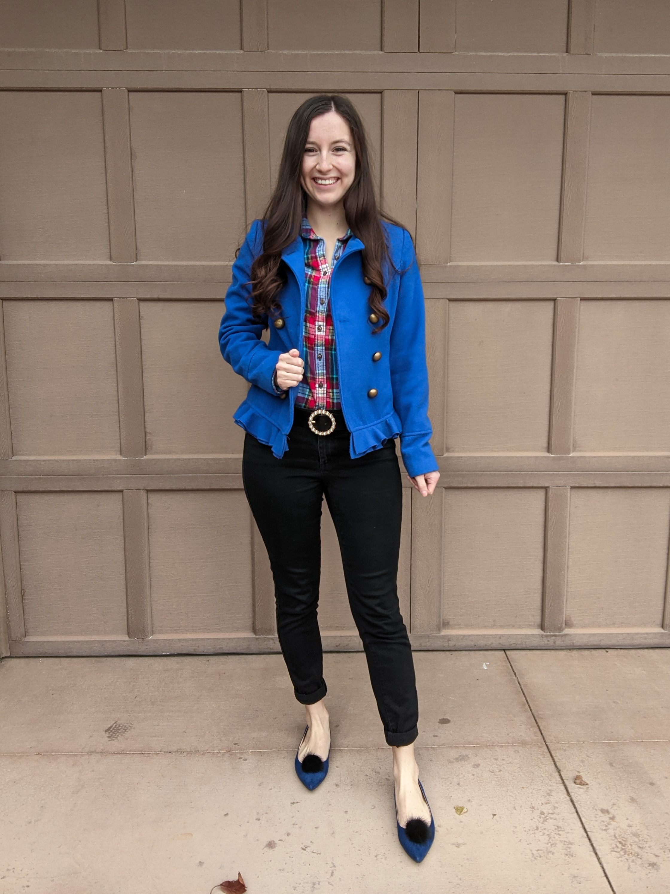 cobalt-blue-peacoat-plaid-flannel-pom-pom-shoes-pearl-belt