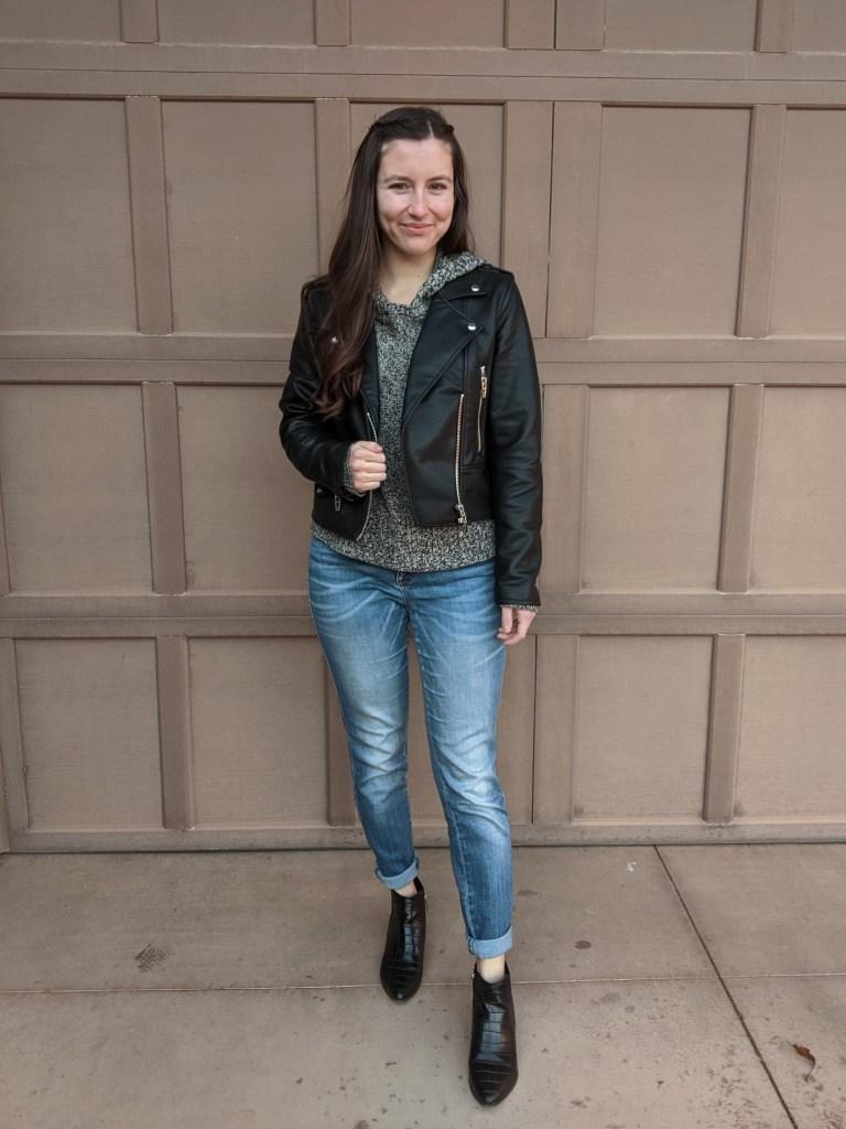 grey-hoodie-black-leather-jacket-black-booties-edgy-style