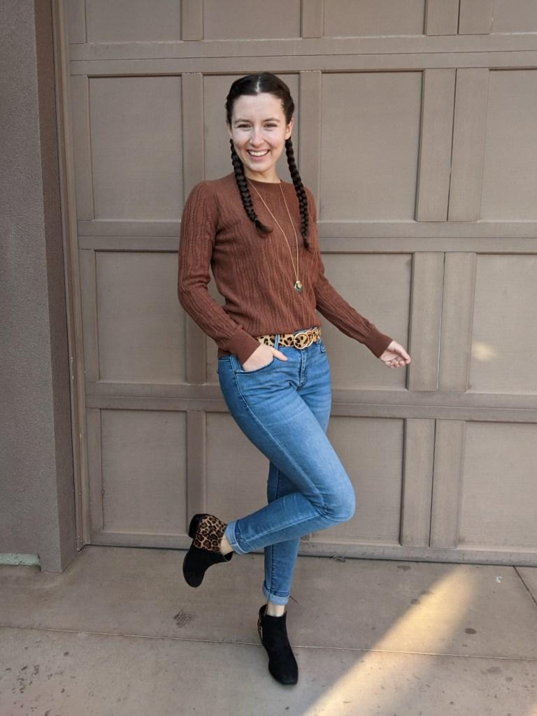 brown-sweater-leopard-belt-leopard-booties-fall-style