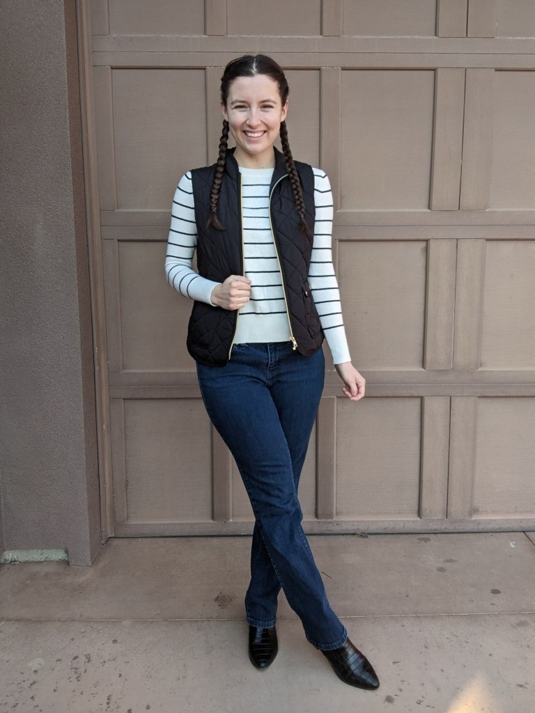 striped-sweater-banana-republic-black-quilted-vest-french-braids