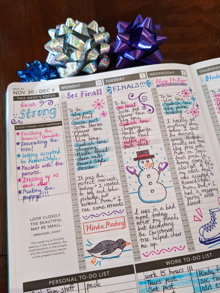 bullet-journaling-passion-planner-winter-doodles-snowman-penguin