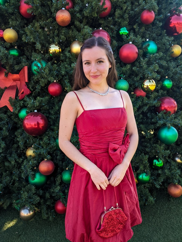 holiday-style-Christmas-dress-thrifted-crystal-necklace