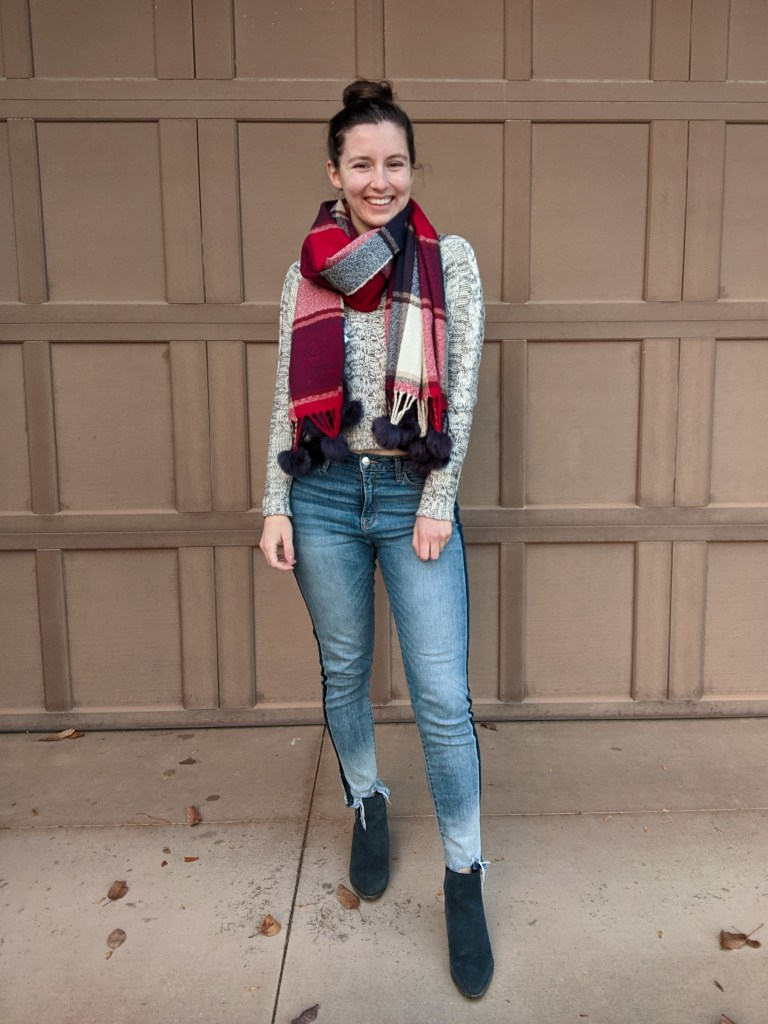 casual-festive-outfit-sweater-weather-plaid-scarf