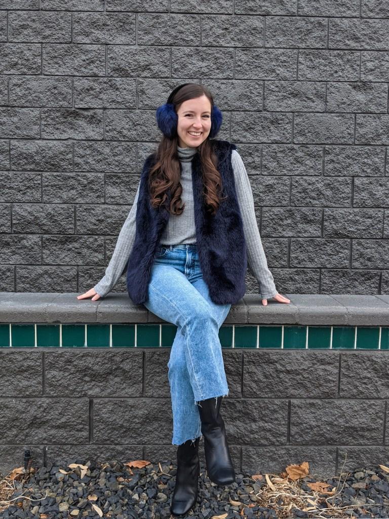 mom-jeans-blue-fur-vest-fuzzy-earmuffs