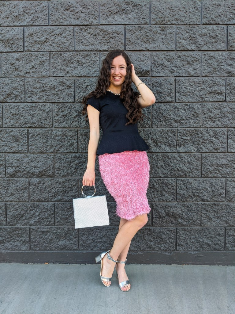 black-peplum-pink-pencil-skirt-silver-purse