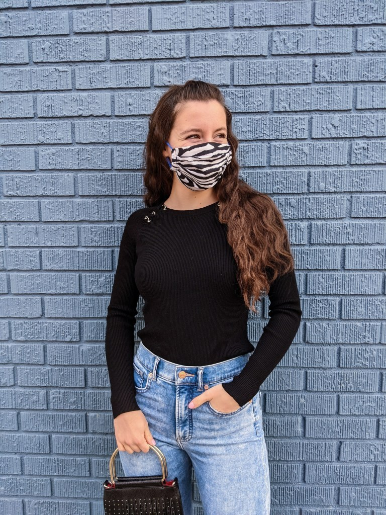 crimped-hair-zebra-facemask-pandemic-high-waisted-jeans