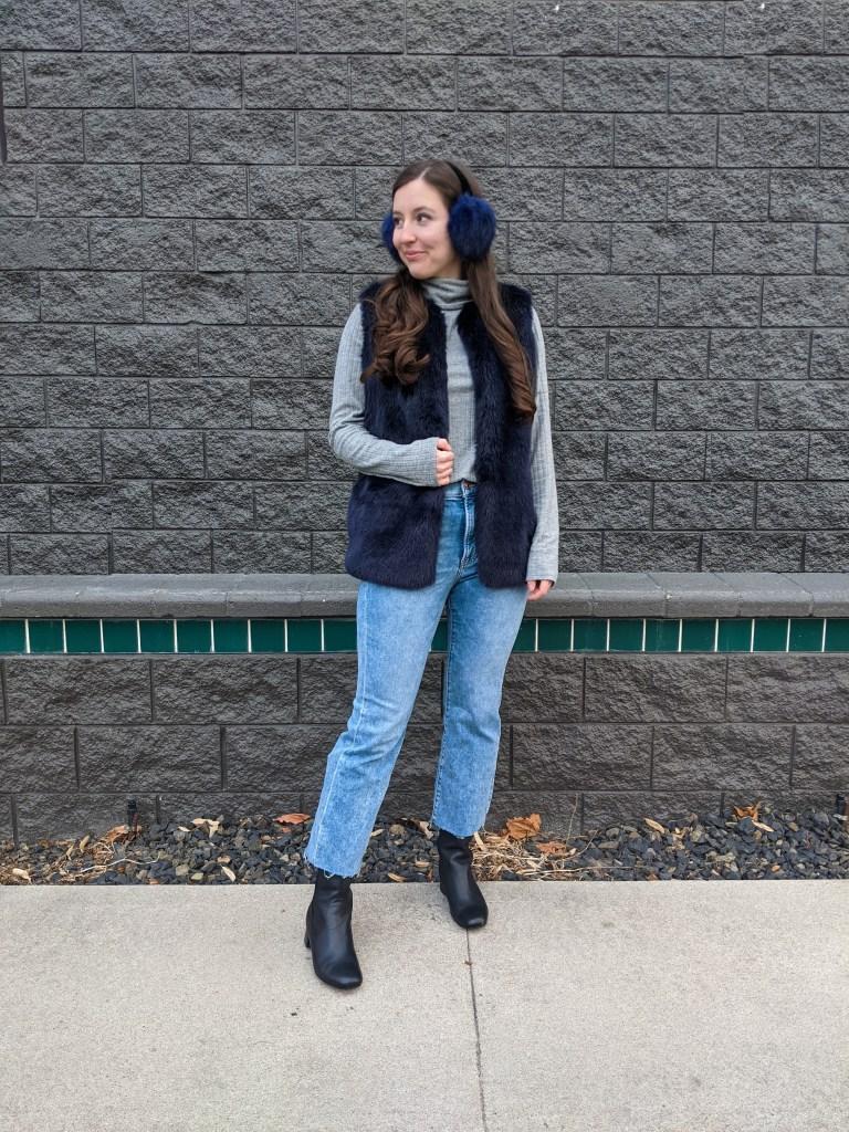 mom-jeans-blue-fur-vest-earmuffs-grey-turtleneck