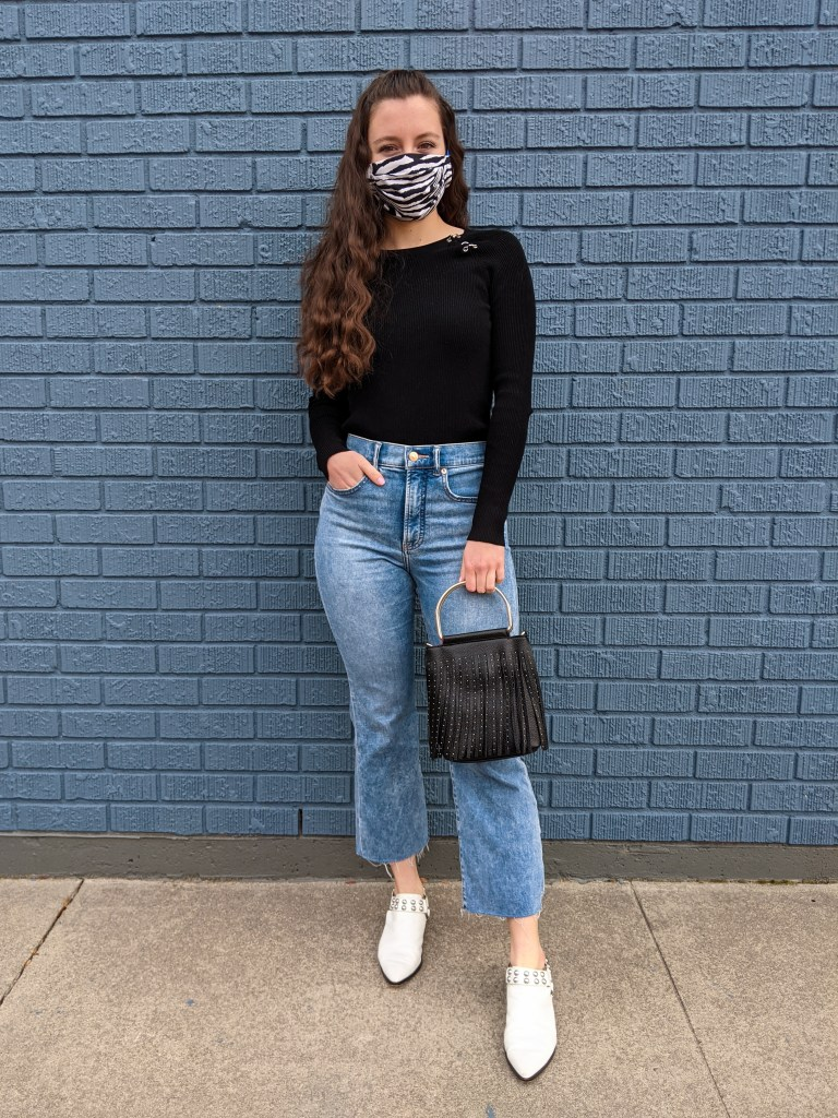 mom-jeans-black-sweater-white-mules-fringe-purse