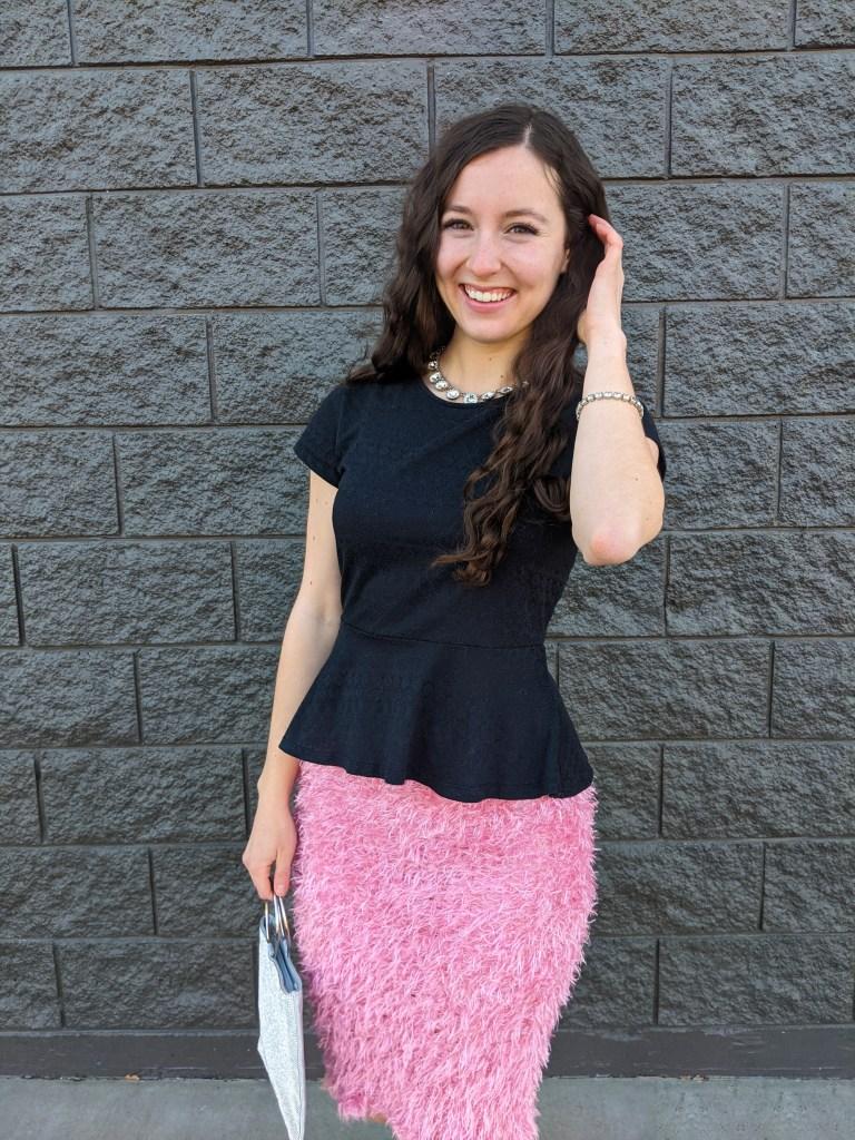 crimped-hair-peplum-top-pink-skirt