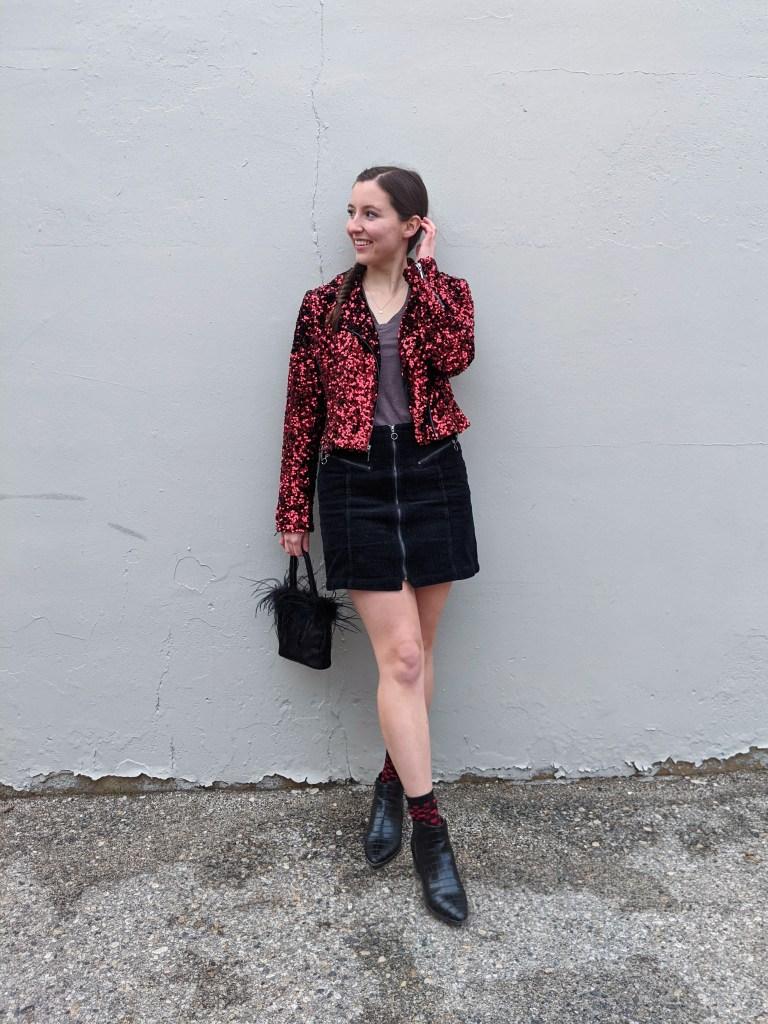grey-tee-red-sequin-jacket-valentine's-day